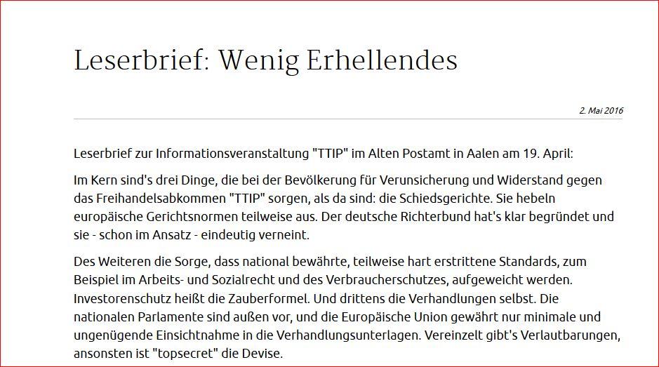 TTIP. Wenig Erhellendes. Leserbrief. Erschienen in den Aalener Nachrichten am 02. Mai 2016. Teil I.