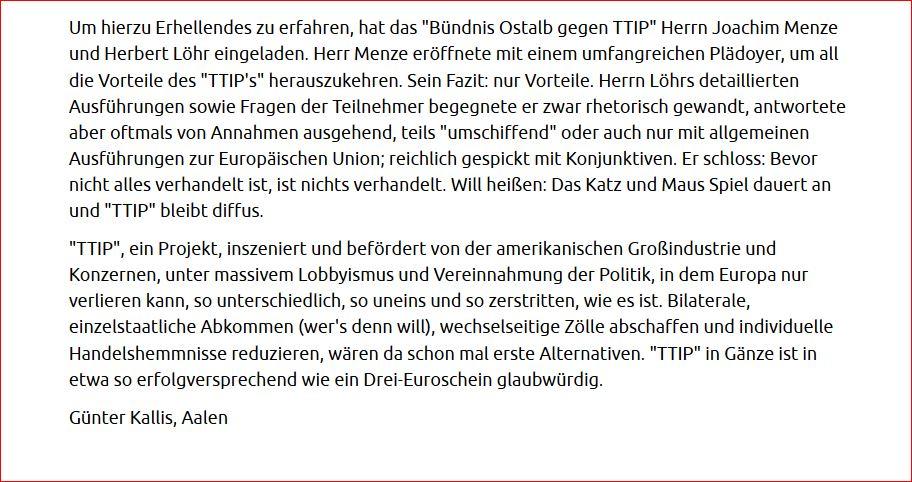 TTIP. Wenig Erhellendes. Leserbrief. Erschienen in den Aalener Nachrichten am 02. Mai 2016. Teil II.